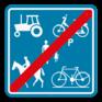 Verkeersbord F101c - Einde voorbehouden voor het verkeer van landbouwvoertuigen, voetgangers, fietsers, ruiters en bestuurders van speed pedelecs.
