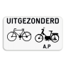 Verkeersbord M12 - Uitgezonderd fietsers, bromfietsers klasse A en speed pedelecs.