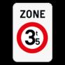 Verkeersbord ZC21 - Zone verboden toegang voor bestuurders van voertuigen waarvan de massa hoger is dan de aangeduide massa.