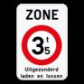 Verkeersbord ZC21T - Zone verboden toegang voor bestuurders van voertuigen waarvan de massa hoger is dan de aangeduide massa.