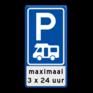 Verkeersbord E08n-OB201p - Parkeerplaats campers + beperking