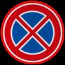 Verkeersbord E02 - Verbod stil te staan