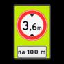 Verkeersbord BT25a - Gesloten voor te hoge voertuigen + afstand
