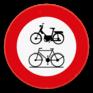 Verkeersbord C9-C11 - Verboden toegang voor bestuurders van bromfietsen en fietsen.
