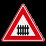 Verkeersbord J10 - Vooraanduiding overweg met slagbomen