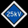 spoorwegbord SA RS 320a - Bovenleidingspanning
