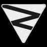 spoorwegbord OB RS 312a - Zig-zag driehoek voor Facultatief fluitbord