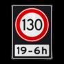 Verkeersbord A01130OB201ps - Maximum snelheid 130 km/h