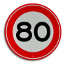 Verkeersbord A01-080 - Maximum snelheid 80 km/h