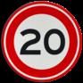 Verkeersbord A01-020 - Maximum snelheid 20 km/h