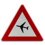 Verkeersbord A35 - Overtocht van vliegtuigen op geringe hoogte