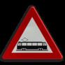 Verkeersbord A49 - Kruising van een openbare weg met  in de rijbaan sporen