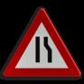 Verkeersbord A07b - Rijbaanversmalling langs rechts