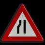 Verkeersbord A07c - Rijbaanversmalling langs links