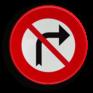 Verkeersbord C31d - Verbod af te slaan in de richting van de pijl