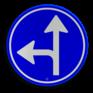 Verkeersbord D06l - Verplichte rijrichting rechtdoor of linksaf