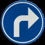 Verkeersbord D01e - Verplichting de door de pijl aangeduide richting te volgen