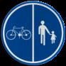 Verkeersbord D09a - Deel van de weg voorbehouden voor voetgangers en fietsen