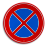 Verkeersbord E2 - Verbod stil te staan