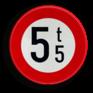 Verkeersbord C21 - Verboden toegang voor voertuigen hoger is dan de aangeduide massa
