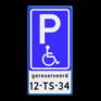Verkeersbord BT17 - Parkeren minder validen  + kenteken
