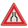 Verkeersbord J17 - Vooraanduiding rijbaanversmalling aan 2 zijden