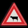 Verkeersbord J28 - Vooraanduiding oversteken vee