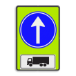 Verkeersbord RVV D04f - OB11 - Verplichte rijrichting rechtdoor + toelichting