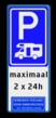 Verkeersbord E08n - Camperparkeerplaats  + tekstregels en pictogram