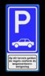 Verkeersbord RVV E08 + pictogram - Parkeerplaats auto's.
