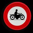 Verkeersbord België C07 - Verboden toegang voor bestuurders van motorfietsen