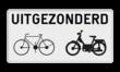 Onderbord België M2 - Uitgezonderd (brom)fietsers