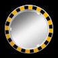 Veiligheidsspiegel acryl geel/zwart Ø600mm met extra opvallende rand