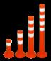 Kunststof flexibele afzetpaal oranje wit Ø80mm - overrijdbaar