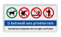 4 verkeerstekens + banner + 2 tekstregels