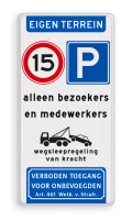 Koptekst + 2x Verkeersteken + Pictogram + 3 tekstregels + onderbanner