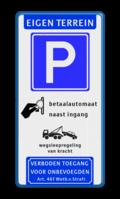 Koptekst - Verkeersteken - (route) parkeren - pictogram - Ondertekst