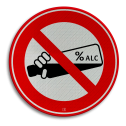 Informatiebord rond rood/wit - alcoholverbod