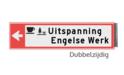 Bewegwijzeringsbord - DUBBELZIJDIG - 800x150x15mm RAL3020 2 regelig en pijl