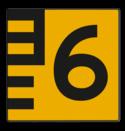 Scheepvaartbord BPR G. 5.1 - 1000x1000mm - Hoogteschaal geel/zwart rechts