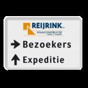Routebord 2 regelig met logo + pijl links - eigen tekst