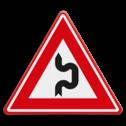 Verkeersbord - Vooraanduiding dubbele S-bocht