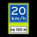 Verkeersbord RVV A04-xx - OB401-xxx - Adviessnelheid, na 100 meter