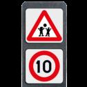 Verzwaarde bermpaal met 2 symbolen