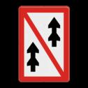 Scheepvaartbord Voorbijlopen verboden voor samenstellen onderling. Te gebruiken in situaties, waarin voorbijlopen van samenstellen, dat wil zeggen slepen, koppelverband of duwkonvooien van langer dan 110m of breder dan 12m, onmogelijk is of gevaar kan opleveren. Scheepvaartbord BPR A. 3 - Voorbijlopen verboden voor samenstellen onderliing A. 3 water, A3, Voorbijlopen verboden voor samenstellen onderling, verbodstekens, verbodsborden, waterweg, waterwegen, scheepvaarttekens, verkeerstekens, BPR, slepen, koppelverband, duwkonvooi