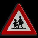 Verkeersbord A23: Plaats waar speciaal veel kinderen komen. Verkeersbord België A23 - Plaats waar speciaal veel kinderen komen A23 pas op, let op, kinderen, oversteken, J21