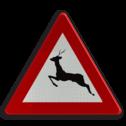 Verkeersbord A27: Doortocht van groot wild. Verkeersbord België A27 - Doortocht van groot wild. A27 pas op, let op, herten, J27