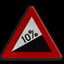 Verkeersbord A5: Steile helling (min. 7%). Verkeersbord België A05 - Steile helling A05 pas op, let op, dubbele bocht, helling, stijgend, omhoog, heuvel, berg, steil, RVV J07