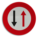 Verkeersbord B19: Smalle doorgang, gebod doorgang te verlenen aan de bestuurders die uit de tegenovergestelde richting komen. Verkeersbord België B19 - Smalle doorgang B19 verbodsbord, verboden voor auto's, geen auto's, verboden, C.5, C5
