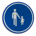 Verkeersbord D11: Verplichte weg voor voetgangers. Verkeersbord België D11 - Verplichte weg voor voetgangers D11 Voetgangers, wegen, verplicht, rond bord blauwe rand